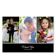 Three Photo Black Banner Wedding Thank You Photo Cards