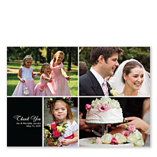 Four Photo Floating Left Box Wedding Thank You Photo Cards