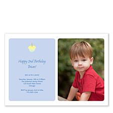 Sweet Confection Blue Photo Party Invitations