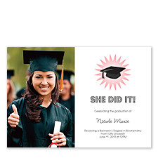 Grad Girl Photo Graduation Announcement Cards