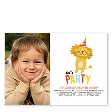 Birthday Lion Photo Party Invitations