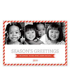 Candy Cane Border Holiday Photo Cards