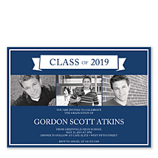 Triple Talented Graduation Photo Invitation Cards