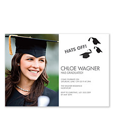 Hats Off Graduation Invitation Photo Cards