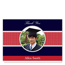 Navy Dotted Graduation Thank You Photo Cards