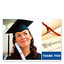 Believe Harvard Blue Graduation Thank You Cards