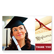Believe Harvard Red Graduation Thank You Cards