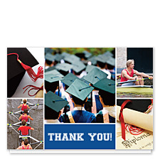 Floating Rectangle Center Harvard Blue Graduation Thank You Photo Cards