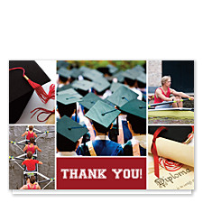 Floating Rectangle Center Harvard Red Graduation Thank You Photo Cards