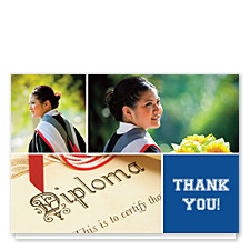 Floating Square Right Harvard Blue Graduation Thank You Cards