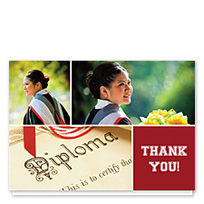 Floating Square Right Harvard Red Graduation Thank You Cards