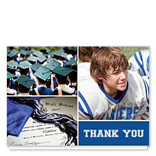 Prosperity Harvard Blue Graduation Thank You Photo Cards