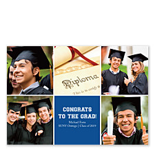 Geometric Square Center Harvard Blue Photo Cards