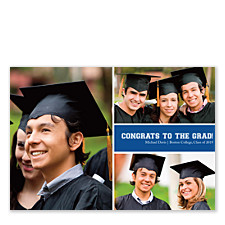 Mid Right Rectangle Harvard Blue Graduation Announcement Cards