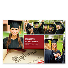 Floating Square Center Harvard Red Graduation Announcement Cards