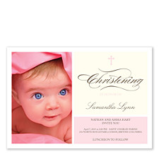 Cherubs Baptism Pink Invitations