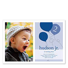 Party Balloons Blue Kids Party Invitations