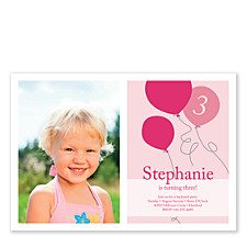 Party Balloons Pink Kids Party Invitations