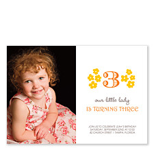 Floral Three Kids Party Invitations