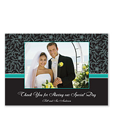 Floral Teal Thank You Photo Cards