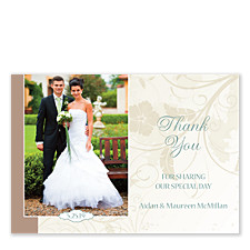 Neutral Florals Horizontal Thank You Cards