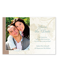 Neutral Florals Horizontal Save the Date Cards