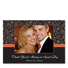 Floral Tangerine Thank You Photo Cards