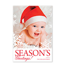 White Flakes Christmas Photo Cards