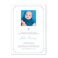 Blue Christening Border Invitations
