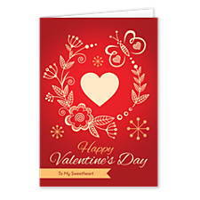 Folk Heart Valentines Day Cards