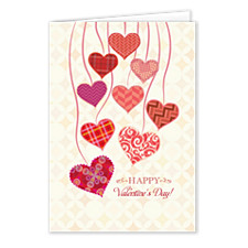 Heart Streamers Valentines Day Cards