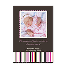 Reflections Pink Photo Birth Announcement Cards