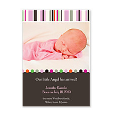 Tones Pink Baby Birth Announcement Photo Cards