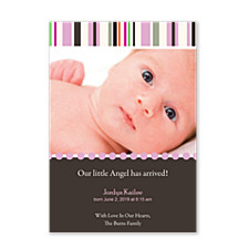 Entice Pink Birth Announcement Photo Cards
