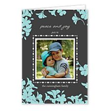 Trumpet Blue Christmas Photo Cards