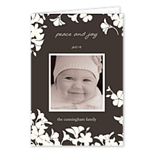 Trumpet White Christmas Photo Cards