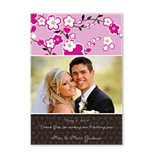 Optimism Pink Wedding Photo Thank You Cards