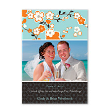 Optimism Blue Wedding Photo Thank You Cards