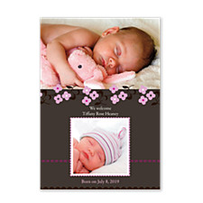 Daisy Stitch Pink Photo Birth Announcement Cards