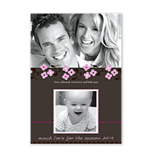 Daisy Stitch Pink Photo Christmas Cards