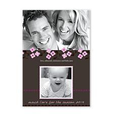 Daisy Stitch Pink Photo Christmas Cards