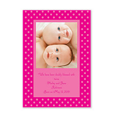 Framed Dots Pink Birth Announcement Photo Cards