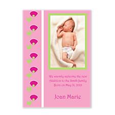 Tulip Border Birth Announcement Photo Cards