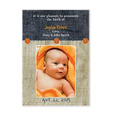 Ocean Wood Photo Birth Announcement Cards
