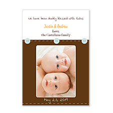 Stitched Buttons Birth Announcement Photo Cards