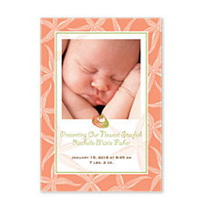 Starfish Coral Photo Birth Announcement Cards