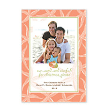 Starfish Coral Holiday Photo Cards
