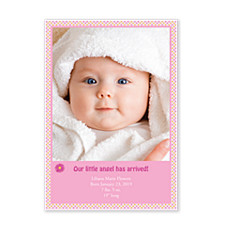 Pink Dots Birth Announcement Photo Cards