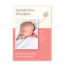 Bees Knees Pink Birth Announcement Cards