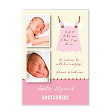 Kids Stuff Pink Birth Announcement Photo Cards